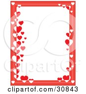 White Stationery Background Bordered With Red And White Hearts