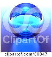 Clipart Illustration Of A 3d Rendered Blue Transparent Glass Crystal Ball Or Orb On A Reflective Surface