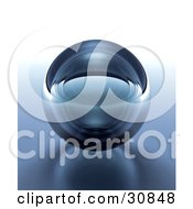 3d Rendered Dark Blue Transparent Glass Crystal Ball Or Orb On A Reflective Surface