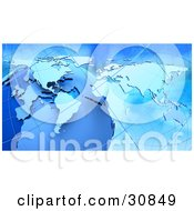Clipart Illustration Of A 3d Rendered Globe Grids And Atlas Map In Blue