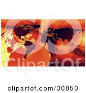 Clipart Illustration Of A 3d Rendered Globe Grids And Atlas Map In Red And Orange