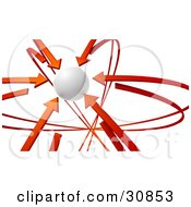 Clipart Illustration Of A 3d Rendered White Orb Circled By Red Arrows