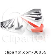 Clipart Illustration Of A 3d Rendered Arrow Race Of Red And Black Arrows The Red In The Lead