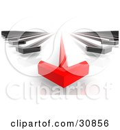 Clipart Illustration Of A 3d Rendered Race Between A Leading Red Arrow And Black Arrows by Tonis Pan #COLLC30856-0042