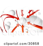 Clipart Illustration Of A 3d Rendered Network Of Red Arrows And White Orbs All Arrows Pointing To One Planet