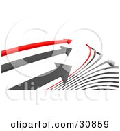Clipart Illustration Of A 3d Rendered Race Between Two Gray And One Red Arrow The Red In The Lead As They Near The End Of The Race by Tonis Pan