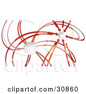 Clipart Illustration Of 3d Rendered Red Arrows Spawning From A White Orb All Pointing At Another Orb In The Distance Symbolizing Goals