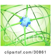 Clipart Illustration Of A 3d Rendered Network Of Green Arrows Circling Around And Pointing At Planet Earth Symbolizing Ecology Travel And Recycling