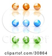3d Rendered Set Of Nine Orange Blue And Green Globe Icons