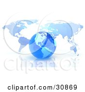 Clipart Illustration Of A 3d Rendered Blue Grid Globe In Front Of A Flat Atlas Map