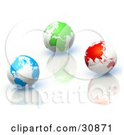 3d Rendered Blue Green And Red Globes On Reflective Surfaces