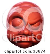 Clipart Illustration Of A 3d Rendered Angry Hot Head Red Face Character With A Mad Facial Expression