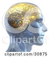Clipart Illustration Of A 3d Rendered Man With A Golden Brain In Profile