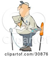 Clipart Illustration Of A White Guy Taking Notes While Inspecting A Gas Leak