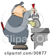 Clipart Illustration Of A White Guy In Coveralls Working On A Meter