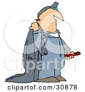 Clipart Illustration Of A White Guy Carrying Coveralls by Dennis Cox
