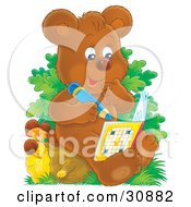 Smart Bear Cub Sitting On A Tree Stump Writing In A Puzzle Book