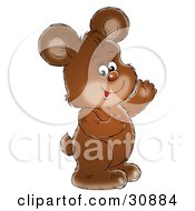 Clipart Illustration Of An Adorable Brown Bear Cub Smiling And Waving