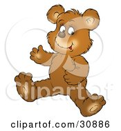 Clipart Illustration Of A Happy Bear Cub Seated On The Floor