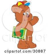 Friendly Bear Cub Student Wearing A Colorful Hat Waving And Carrying A Green Library Or School Book
