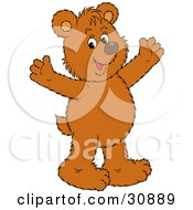 Clipart Illustration Of A Joyous Bear Cub Smiling And Holding His Arms Out