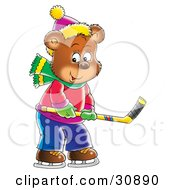 Bear Cub Holding A Stick And Playing Ice Hockey