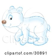 Clipart Illustration Of A Cute Polar Bear Cub In Profile Walking To The Left by Alex Bannykh