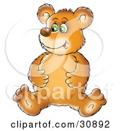 Clipart Illustration Of A Bear Cub Sitting On The Floor And Rubbing His Full Tummy After Eating A Meal