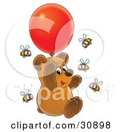 Clipart Illustration Of A Cute Brown Bear Cub Floating Up Into The Air And Holding Onto A Red Helium Party Balloon Surrounded By Curious Honey Bees by Alex Bannykh