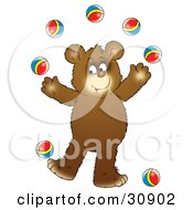 Clipart Illustration Of A Bear Cub Smiling While Juggling Seven Colorful Balls