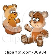 Two Bear Cubs Siblings Or Friends Sitting On The Ground And Waving