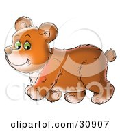 Clipart Illustration Of A Chubby Green Eyed Bear Cub Walking Past