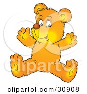 Happy Yellow Bear Cub Sitting On The Floor And Holding His Arms Up