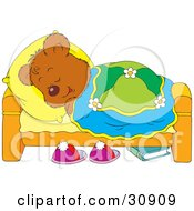Bear Cub Laying In Bed And Sleeping With His Head On A Pillow