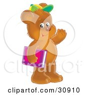 Clipart Illustration Of A Friendly Brown Bear Cub Student Wearing A Green And Yellow Hat Carrying A Pink And Purple School Book And Waving
