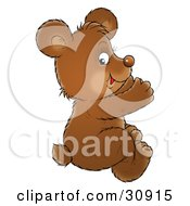 Clipart Illustration Of A Brown Bear Cub Sitting On The Floor And Applauding
