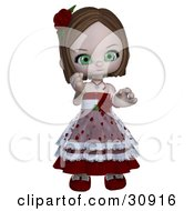 Realistic 3D Rendered Green Eyed Caucasian Valentine Girl In A Heart Dress With Roses
