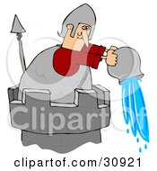 Clipart Illustration Of A Soldier Atop A Tower Pouring A Pail Of Water Down Onto An Intruder