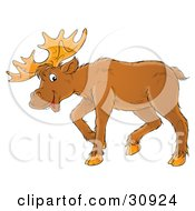 Clipart Illustration Of A Friendly Adult Moose With Big Antlers by Alex Bannykh