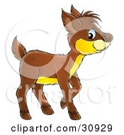 Clipart Illustration Of An Adorable Yellow Bellied Brown Deer Fawn by Alex Bannykh