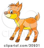 Clipart Illustration Of A Friendly Fawn With A Yellow Belly by Alex Bannykh