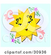 Clipart Illustration Of A Beautiful Yellow Sun Character With Tattoos Smiling In A Sky With Purple Stars by bpearth