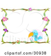 Clipart Illustration Of A Blue Parrot Perched In The Lower Corner Of A Stationery Border Of Branches And Flowers