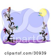 Clipart Illustration Of A Stationery Background Of Seagulls Flying In Front Of The Sun With Black Flowering Plants Along The Sides by bpearth