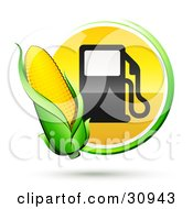 Ear Of Golden Corn Over A Green And Yellow Button With A Fuel Pump