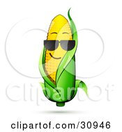 Clipart Illustration Of A Cool Corn On The Cob Character With A Green Husk Wearing Shades