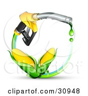 Clipart Illustration Of Two Ears Of Golden Corn On A Blue And Green Circle Under A Dripping Yellow Gas Nozzle