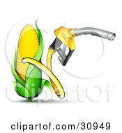 Clipart Illustration Of A Yellow Gas Nozzle Emerging From A Yellow Corn Biofuel Pump