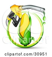 Clipart Illustration Of A Yellow Gas Nozzle Dripping Over An Ear Of Corn In A Green And Yellow Circle