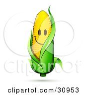 Smiling Corn On The Cob Character With A Green Husk